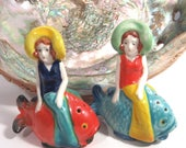 Flapper Bathing Beauty Salt & Pepper Shakers with Brightly Colored Fish, Beach Theme, Art Deco