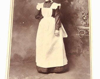 Victorian Household Maid in Uniform Cabinet Card  RARE Gustafson Photography San Antonio, Texas
