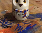 RESERVED of craftyj105 - Ravenclaw Snowy Owl - Hogwarts House Hedwig: - Harry Potter Inspired Clay Owlery