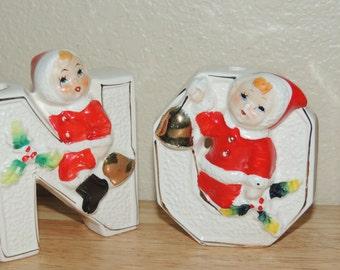LIPPER MANN Japan NOEL Ceramic Christmas Candle Holders