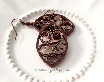 Chocolate and tan paper quilling earrings-Brown marquis paper earrings-Chocolate and tan filigree earrings