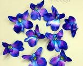 Blue orchid flowers, Blue orchids wedding decorations, DIY Wedding supplies, Silk orchids, Blue turquoise orchid blooms