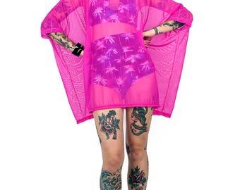 Fuchsia Mesh Tent Dress
