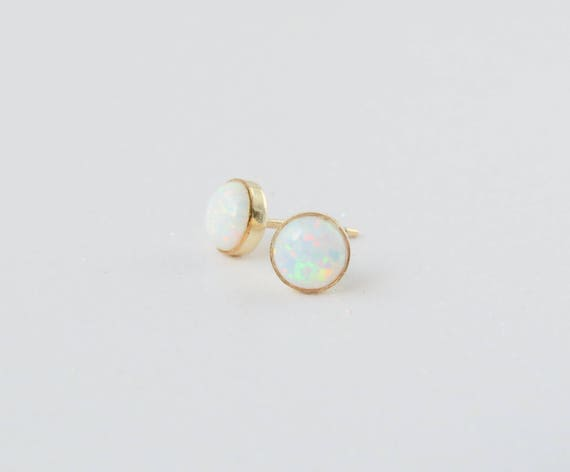 Opal Studs Gold | Tiny Opal Studs |  Dainty Opal Studs | Opal Studs | Christmas Gift | October Birthstone | Stocking Stuffer | Gift For Her