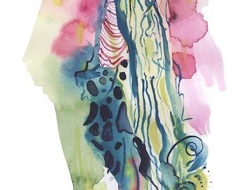 Original Abstract Surreal Watercolor Figure Painting - B26