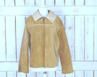 90s vintage Gap tan brown suede leather faux shearling sheepskin winter coat/insulated bomber jacket/rancher jacket