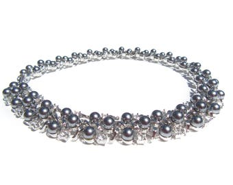 "Metallic Silver Necklace with Rhinestones and Faux Pearls 16"" Formal Vintage Jewelry"