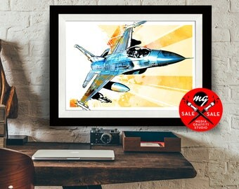 """AIRPLANE - SALE! 18""""X24"""" - F16 Fighting Falcon - Airplane Decor, Art Print, Air Force, Military Gift, Aviation, Pilot gift"""