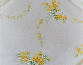 Laura Ashley yellow roses cotton fabric bouquets