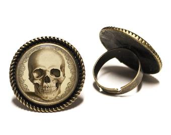 Antique Skull Brass Rope Ring 20mm