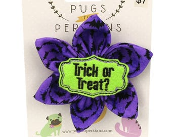 Halloween Dog Bow - Trick Or Treat on Purple Bats - Flower - Collar Blossom - Large Size