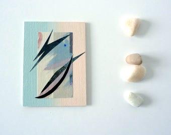 Contemporary Minimal Abstract, mixed media artwork, Original art ACEO