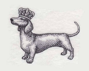 Dachshund in Crown Tea Towel | Dog Lover Gift | Embroidered Kitchen Towel | Embroidered Towel | Flour Sack Towel | Personalized Dish Towel