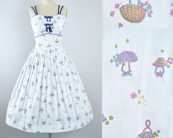 Vintage 50s NOVELTY Print Dress / 1950s Toni Todd Cotton Sundress FLORAL BASKET Navy Blue Full Swing Skirt Pinup Picnic Garden Party Medium