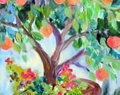 Peach Tree Original painting 12 x 24 Art by Elaine Cory