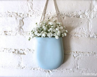 New Color-Pale Blue Porcelain Hanging Wall Pocket, Wall Hanging Vase, Wall Decor, Living With Flowers Everyday