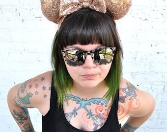 Full Rose Gold Sequin Mickey Mouse Ears Minnie Mouse Ears Glitter Mickey Ears Sequin Mickey Ears