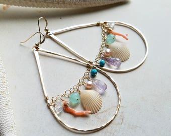 Large Beach Cluster Earrings, Hawaiian Shell Hoops, Colorful Gemstone Hoop Earrings, Boho Beach Hoops:  Ready to Ship