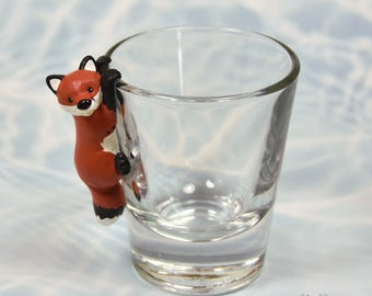 Hand Sculpted Red Fox 1.5 oz Shotglass