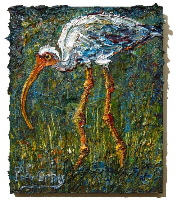 Oil Paint on Stretched Canvas of 20 by 16 by 3/4 in. / Original oil painting  bird crane art abstract animal signed expressionism nature