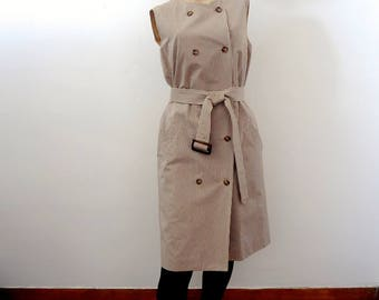 1980s Trench Dress - vintage double breasted gingham shift - Anne Klein office & day dress size S