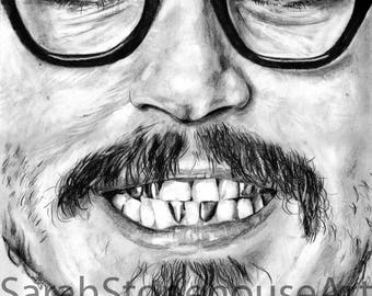 Johnny Depp Teeth Pencil Drawing Print