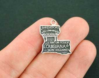 8 Louisiana State Charms Antique Silver Tone - SC1781