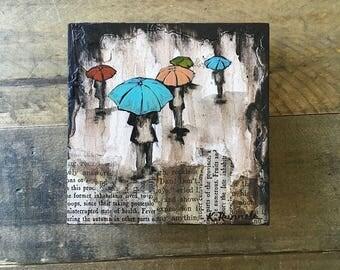 Multi-Color Rain Study Painting - Original Painting 4x4, original art, collage art, rain art, umbrella art, original umbrella painting