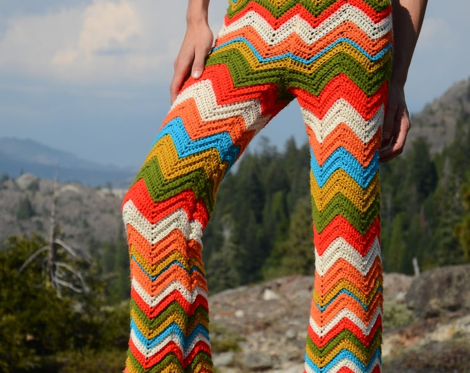 Crochet Pants Disco Bellbottom Chevrons
