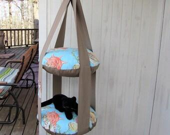 Hanging Cat Bed, Sea Life Aqua U0026 Tan, Double Cat Bed, Kitty Cloud
