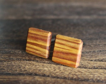 Wood Cufflinks, Wood Cuff links, Cufflinks, Gunmetal, Gunmetal cufflinks, Canary Wood, Wooden Cuff links, Gift for Him, Wedding Day, Groom