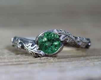 Emerald Leaf Engagement Ring, Silver Emerald Leaf Ring, Leaf Ring With Emerald, Oak Tree Promise Ring, Nature Wood Oak Tree Silver Ring
