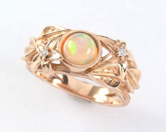 Opal Engagement Ring ,Ethiopian fire Opal engagement Ring, Boho nature inspired ring, Rose gold leaves ring, Statement solid gold ring, Bark