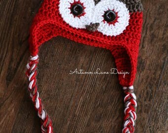 Handmade Crochet Owl Hat with Earflaps and Braids in all Sizes