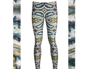 DIGITAL PRINT LEGGINGS - Unique and Colourful Illustrated legwear. Printed in uk. yoga leggings, activewear. Sports.   Made to Order.