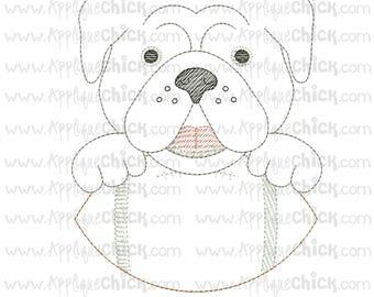 Vintage Stitch Bulldog Embroidery Design