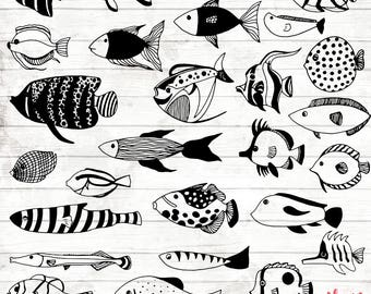 Tropical Fish Clipart - 27 Hand Drawn Fishes Cliparts - Under the sea Logo Art - Tropical Fish Elements - Ocean Illustration - ACGABW21
