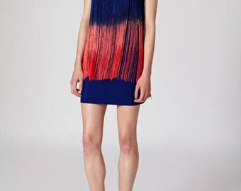 Dark Cobalt Bandeau Strapless BlueTo Pink Gradient Fringe Blue Bodycon Dress
