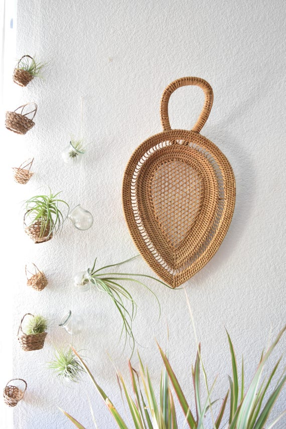 large woven rattan bamboo spoon / teardrop ladle / planter