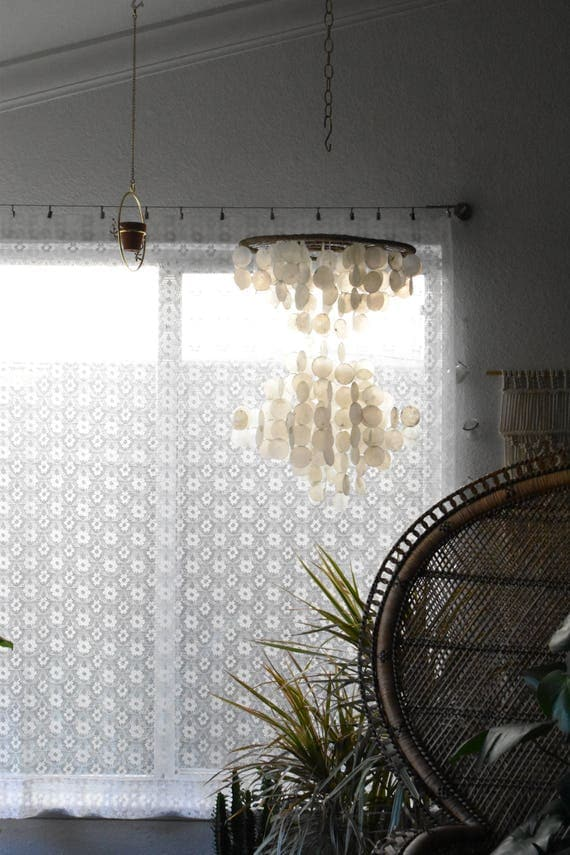 white lace flower floral window curtain panel