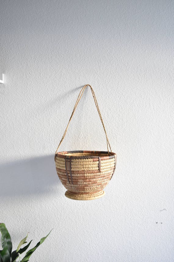 african hanging coiled woven straw pedestal bowl basket / fruit bowl