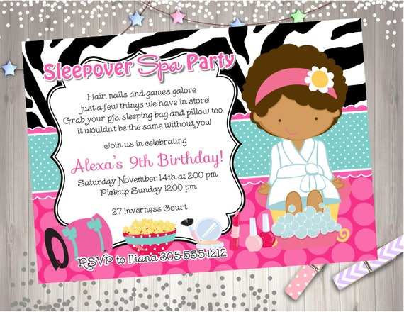 Spa Sleepover Invitation Invite Sleepover spa party invitation – Spa Slumber Party Invitations