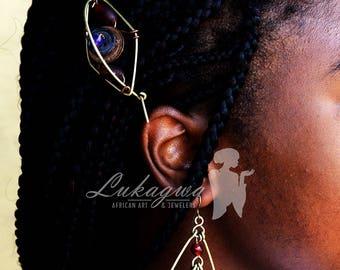 Red Jewelry Set,Red African jewelry,Red Hair Clip&Hoop earrings,Red Hoop earrings