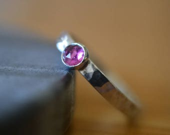 5mm Pink Tourmaline Ring, Natural Gemstone Ring, Artisan Made Custom Engraved Jewelry, Sterling Silver Band, Personalized Commitment Ring