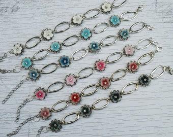 SALE - Antique Silver Flower Bracelet, Vintage Style Bracelet , White Blue Pink Red Black Flower Bracelet, Gift For Her