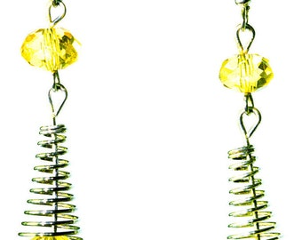 Springy French Wire Earrings with Faux Citrine Beads