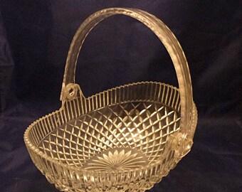 Vintage Hoya Japan Lead Crystal Glass Basket, 1960s