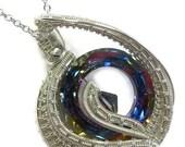 "Swarovski Crystal & Tarnish-Resistant Sterling Silver ""Woven Donut"" Pendant Necklace"