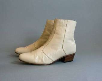 Vintage 1980's White Leather Zip Up Boots / Men's Size 9 1/2 US