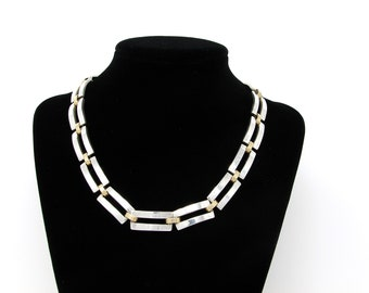 Substantial Vintage Mexican Sterling Silver Brass Collar Necklace